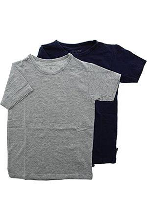 Minymo Minymo 2er Pack Baby Jungen T-Shirt, Kurzarm, Alter 12-18 Monate, Größe: 86, Farbe: Dunkelblau und Grau