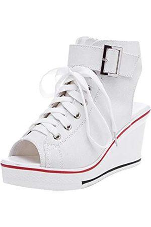 OCHENTA Damen Peep-Toe Canvas Keilabsatz Mode Sneaker, Weiá (#4 )