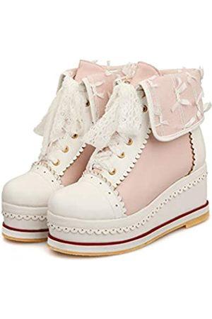 HILIB HILIB Damen Süße Lolita Boots Cosplay Brogue Keilstiefel, Pink (rose)