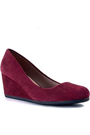 Guilty Shoes Guilty Heart Klassisches Bürokleid mit bequemem Keilabsatz, weicher Mittelabsatz, runde Zehenpartie, Rot (Burgundy Suede)