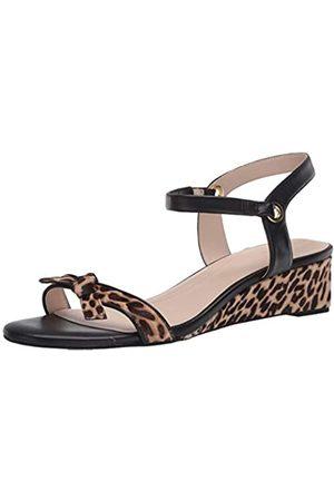 Cole Haan Cole Haan Damen Halsey Wedge Sandal (40MM) Pumps, Mini Ombré-Muster Cheetah-Print Kalbsleder/Ch Nude & Schwarzes Leder gebürstet Gold Hw