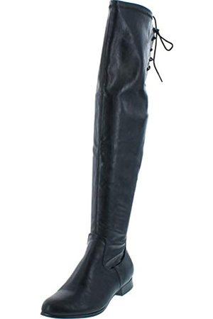 Chase & Chloe Maggy-1 Damen Stiefel mit hohem Kordelzug, niedriger Absatz, ( (Black Pu))