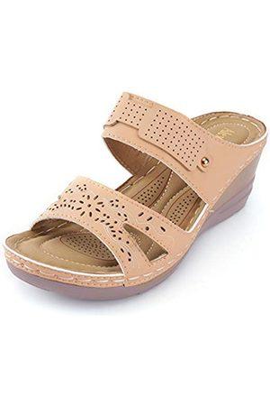ALEXIS Bequeme Damen-Sandalen mit offenem Zehenbereich, überkreuzte Riemen, zum Reinschlüpfen