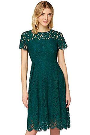 TRUTH & FABLE Damen Partykleider - Amazon-Marke: Damen Midi A-Linien-Kleid aus Spitze, (Deep Petrol), 42