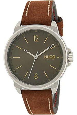 HUGO BOSS Herren Analog Quartz Uhr Lead mit Leder Armband