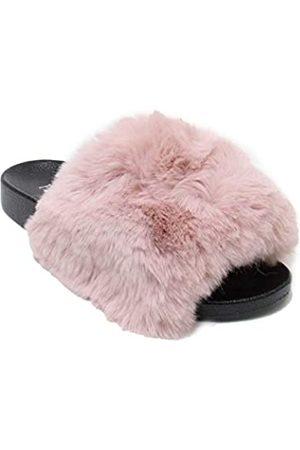 H2K Lora Damen Flauschige Pelz Pantoffeln mit offenem Zehenbereich, (Dusty Rose)