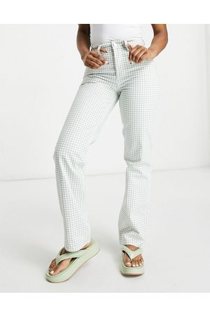 ASOS – Gerade geschnittene Jeans im Stil der 90er-Jahre mit mittelhohem Bund und grünen Vichy-Karos