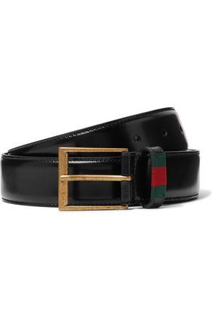 Gucci Herren Gürtel - 3.5cm Webbing-Trimmed Polished-Leather Belt