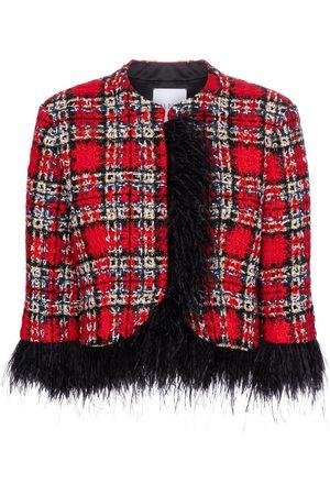 HALPERN Jacke aus Tweed mit Federn