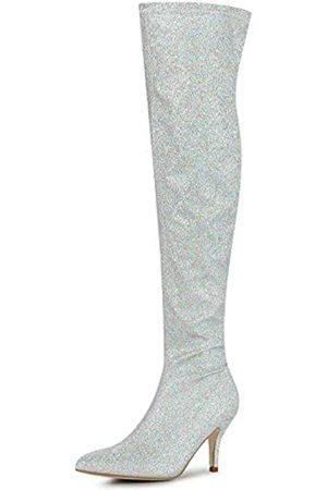 Allegra K Damen Glitzer Spitze Zehen Stiletto Absatz über dem Knie Hohe Stiefel