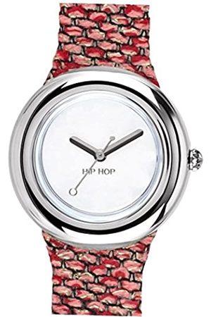 Hip Armbanduhr HIP HOP Frau Metal quadrante Weiss e uhrarmband in silizium, Metall rosa-Silber