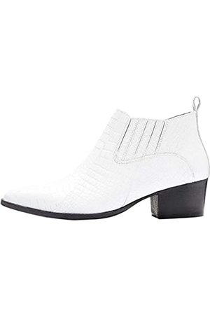 FIND Croc Embellished Leather Stiefeletten, White