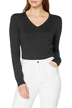 MERAKI Amazon-Marke: Baumwoll-Pullover Damen mit V-Ausschnitt, Grau (Charcoal), 34