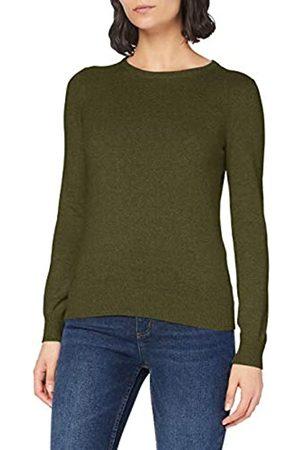 MERAKI Amazon-Marke: Baumwoll-Pullover Damen mit Rundhals, Grün (Khaki), 40