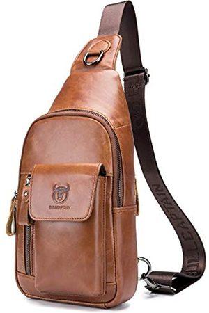BULLCAPTAIN Herren Umhängetasche aus echtem Leder mit großer Kapazität, für Reisen, Wandern