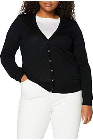MERAKI Damen Strickpullover - Amazon-Marke: Merino Strickjacke Damen mit V-Ausschnitt (Black), 36