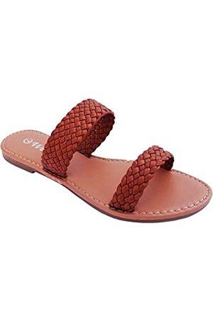 Welwel Elegante Damen Fashion Flip Flop Sandalen, (2 Strap Braided Tan)