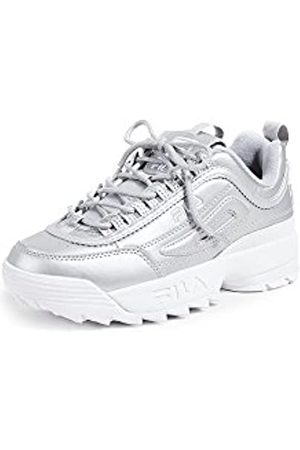 Fila Women's Disruptor II Premium Metallic Sneakers, Metallic Silver/White
