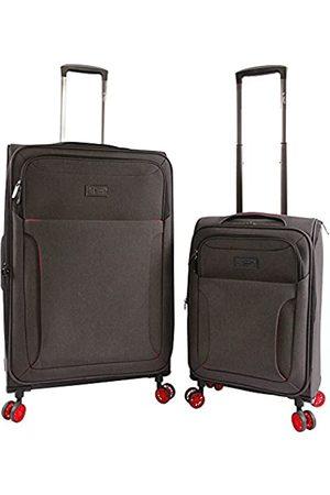 Original Penguin ORIGINAL PENGUIN Luggage Platt 2 Piece Set Expandable Suitcase with Spinner Wheels, Black Crosshatch/Red