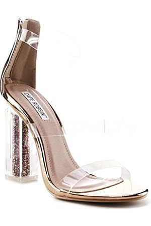 Cape Robbin Maria-7 Lucite Clear Perspex Glitter Block Heel Open Peep Toe Sandalen Schuhe Schwarz, Pink (rose )