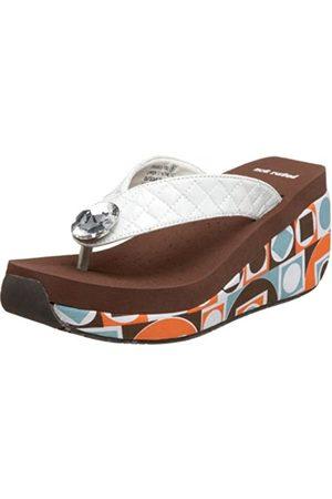 Not Rated Damen Hang Ten Sandalen mit Keilabsatz, Wei