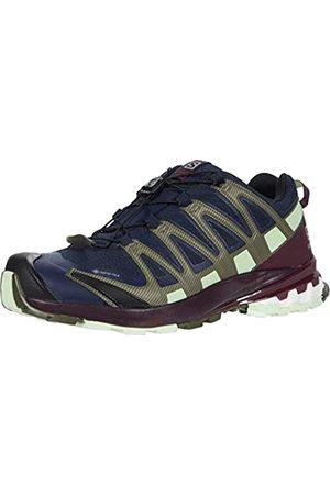 Salomon Damen XA PRO 3D V8 GTX, Leichte Schuhe für Trail Running und Wandern, Wasserdicht, (Navy Blazer/Wine Tasting/Patina Green)