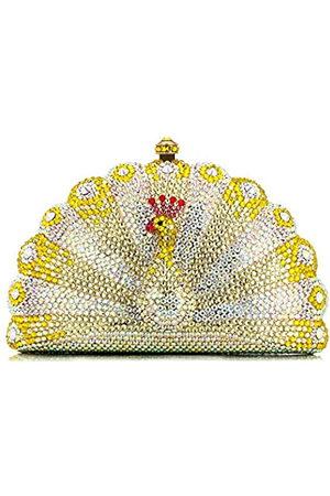 NoBrand Damen-Clutch mit Strasssteinen, Pfauenform, luxuriös, mit Kristallen, Abendtaschen, Metallkette
