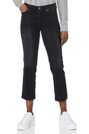 7 for all Mankind Women's The Straight Crop Jeans, Black