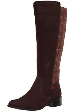 Marc Joseph New York Damen Leather Luxury High Top Riding Boot with Plaid Detail Kniehoher Stiefel, /Nubukleder