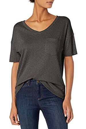 Daily Ritual Damen T-Shirts - Cotton Modal Stretch Slub Short-Sleeve V-Neck Pocket T Athletic-Shirts