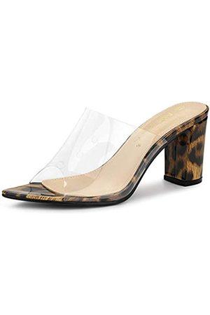 Allegra K Damen Peep Toe Blockabsatz Slingback Panel High Heels Sandalen 41