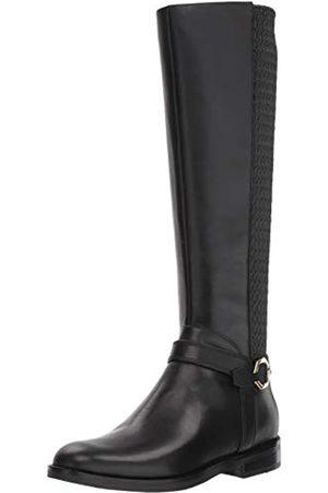Cole Haan Damenschuh: Stiefel hoher Reitstiefel, (Schwarzes Leder/ gestepptes Stretch)