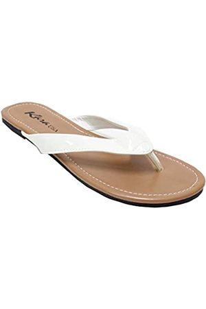 KARA LS013 Damen Classic Casual Flat Thong Flip Flops Sandalen Schuhe, Wei�