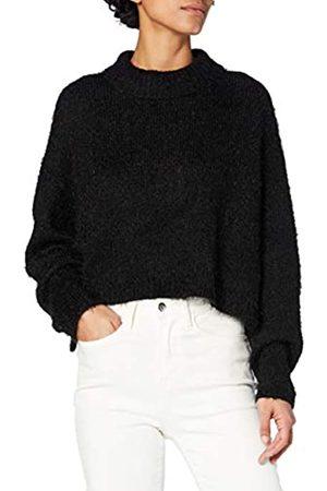Urban classics Damen Ladies Oversized Turtleneck Feather Sweater Sweatshirts, Black