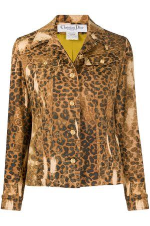 Dior 2000s pre-owned Jeansjacke mit Leoparden-Print - Nude