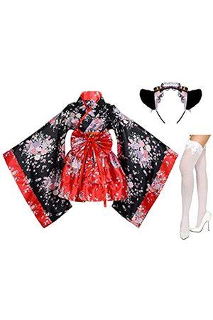Elibelle Kimono-Kostüm, japanischer Anime-Lolita-, Kirsch-, Sakura-, Blumendruck, Kostüm, Dienstmädchen, Katze, Stirnband, Socken