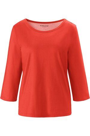 Green Cotton Rundhals-Shirt 3/4-Arm