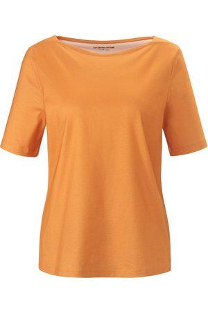 Green Cotton T-Shirt U-Boot-Ausschnitt