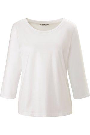 green cotton Rundhals-Shirt 3/4-Arm weiss