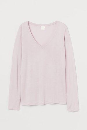 H&M Damen Longsleeves - Jerseyshirt mit V-Ausschnitt