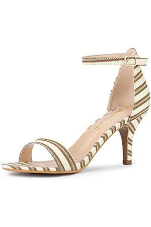 Allegra K Damen-Sandalen, gestreift, Knöchelriemen, Stiletto-Absatz, ( gestreift)