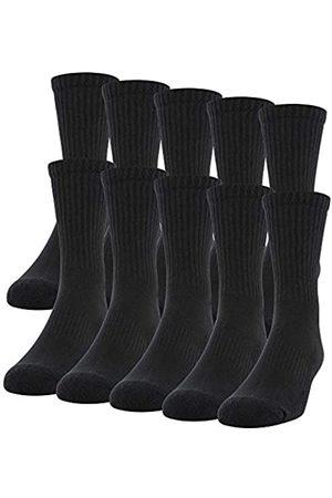 Gildan Men's Cotton Crew Socks, 10 Pair, Black