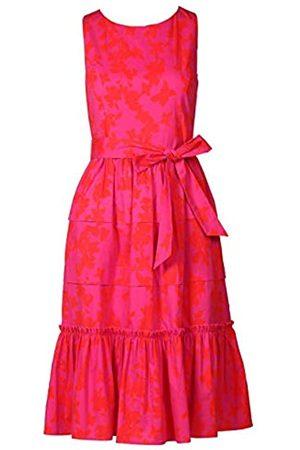APART Fashion APART, Damen Kleid, Sommerkleid, Allover Bedruckt mit angedeuteten Blüten, breiter Volant-Saum, angesetzt in Paperbag-Optik