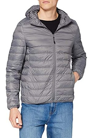Urban classics Urban Classics Herren Hooded Down Jacket, gefütterte Daunenjacke für Herbst und Winter, praktisch verstaubar in mitgelieferter Tasche - darkgrey