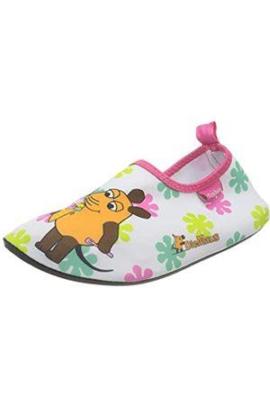 Playshoes Playshoes Jungen Unisex Kinder Badeslipper Aqua-Schuhe Die Maus Blumen, Mehrfarbig (Weiß/Rosa 586)