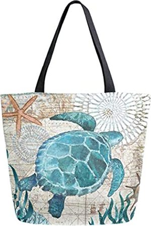 ZzWwR ZzWwR Vintage Ocean Starfish Map Print Extra Large Canvas Shoulder Tote Top Storage Handle Bag for Gym Beach Weekender Travel Reusable Grocery Shopping