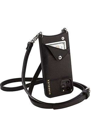 BANDOLIER Bandolier Emma Crossbody Phone Case and Wallet - Black Leather with Silver Detail - Compatible with iPhone 11 Only