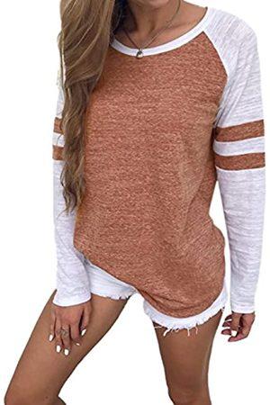 Famulily Damen Streifen Langarmshirt Tops Elegant Lose Baseball T-Shirt Sweatshirt Bluse (XL