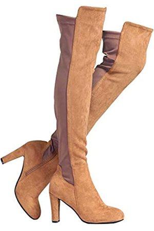 Shoe'N Tale Shoe'N Tale Damen Overknee-Stiefel aus Velourslederimitat mit klobigem Absatz, Stretch, Overknee-hoch (braun)