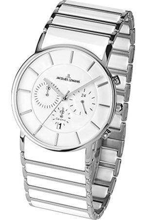 JACQUES LEMANS Herren Analog Quarz Uhr mit Keramik Armband 1-1815B